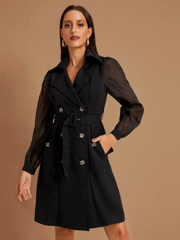Double Breasted Organza Sleeve Belted Coat