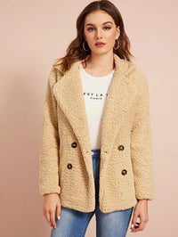 Double Button Teddy Pea Coat