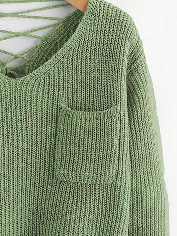 Double Plunge Criss Cross Back Chunky Knit Jumper
