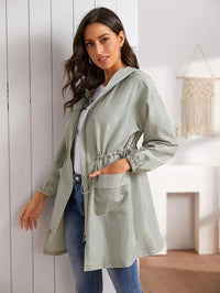 Drawstring Waist Hooded Dual Pocket Coat