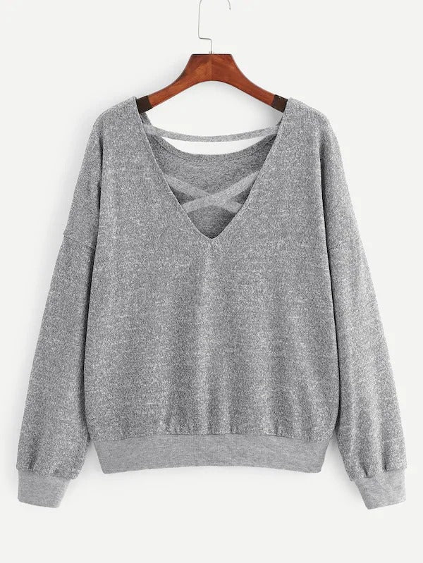 Drop Shoulder Contrast Sequin Sweater