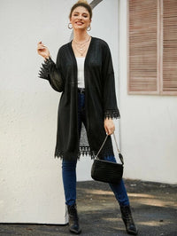 Drop Shoulder Guipure Lace Trim Coat