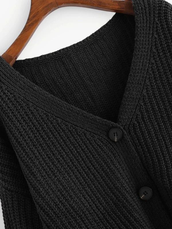 Drop Shoulder Single Breasted Knit Coat