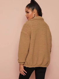 Dual Pockets Zip Up Teddy Coat