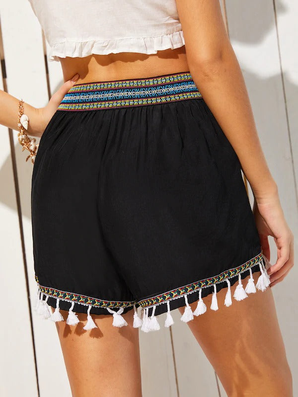 Embroidered Tape Fringe Hem Shorts