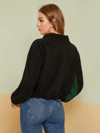 Embroidery Detail Colorblock Teddy Jacket