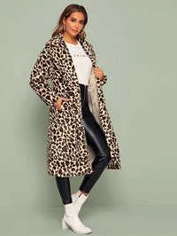 Exaggerate Collar Pocket Side Leopard Coat
