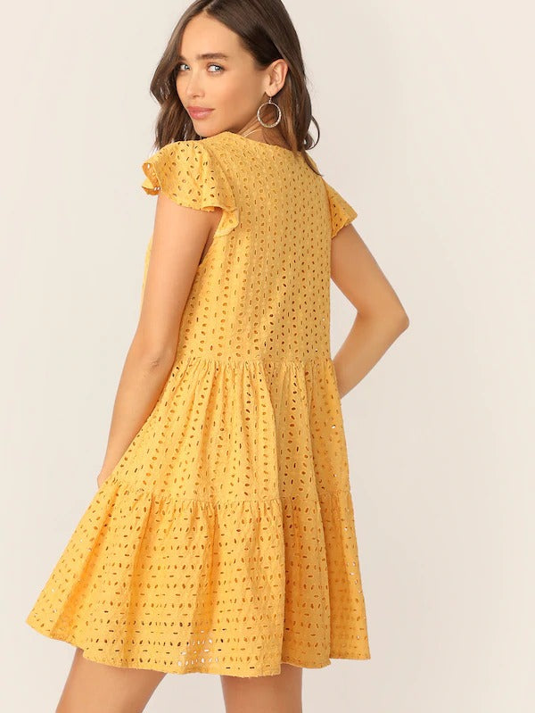 Eyelet Embroidered Tiered Ruffle Dress