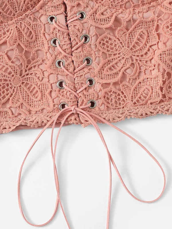 Eyelet Lace Up Zipper Back Cami Top