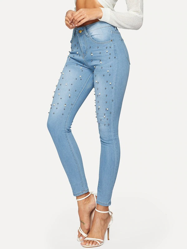 Faux Pearl Beading Jeggings
