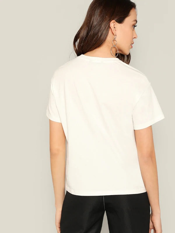 Figure Print Rolled Cuff T-Shirt