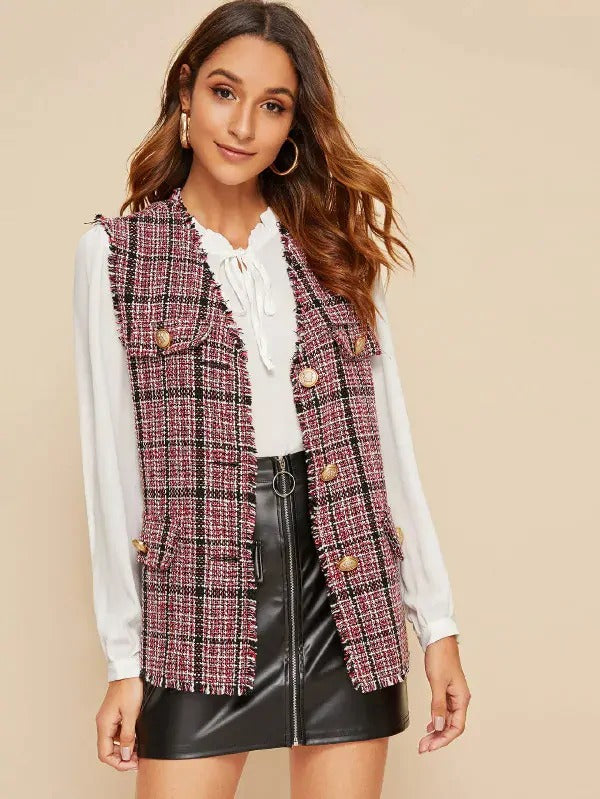 Flap Gold Button Detail Plaid Tweed Jacket