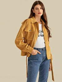 Flap Pocket Belted Corduroy Jacket