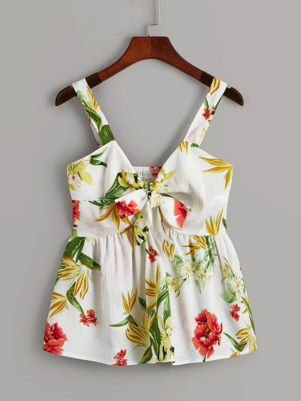 Floral Print Tie Front Shirred Back Cami Top