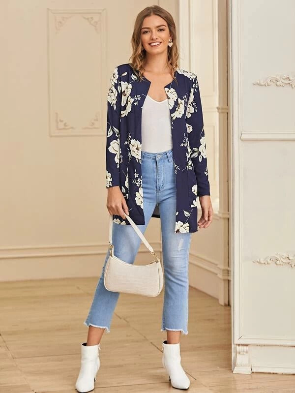 Floral Print Open Front Pocket Coat
