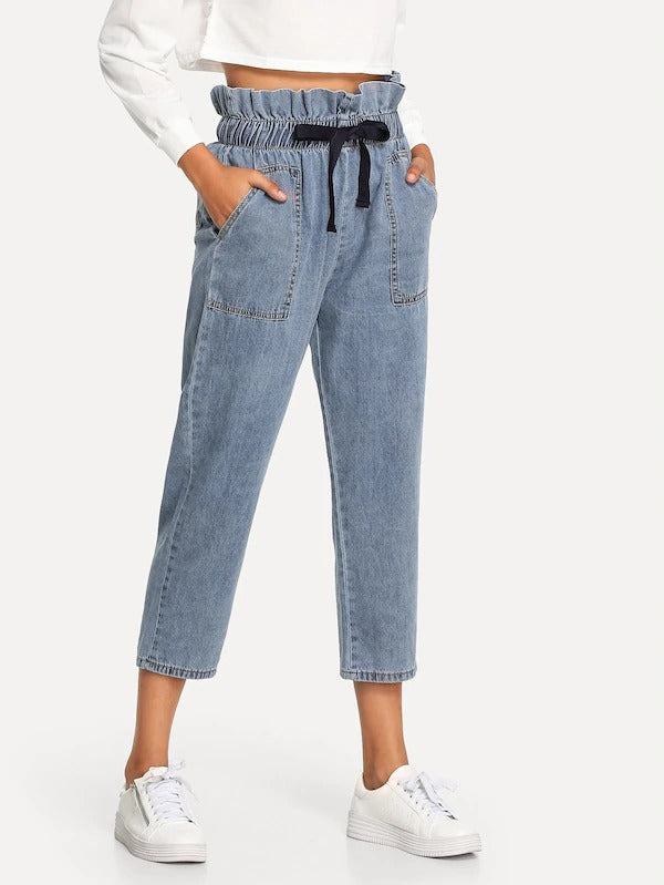 Frill Detail Drawstring Jeans