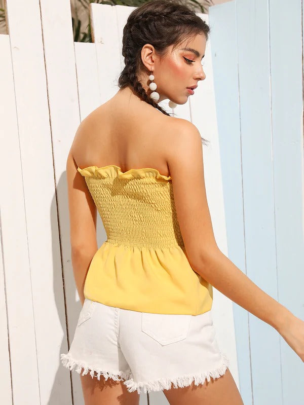 Frill Trim Shirred Tube Top