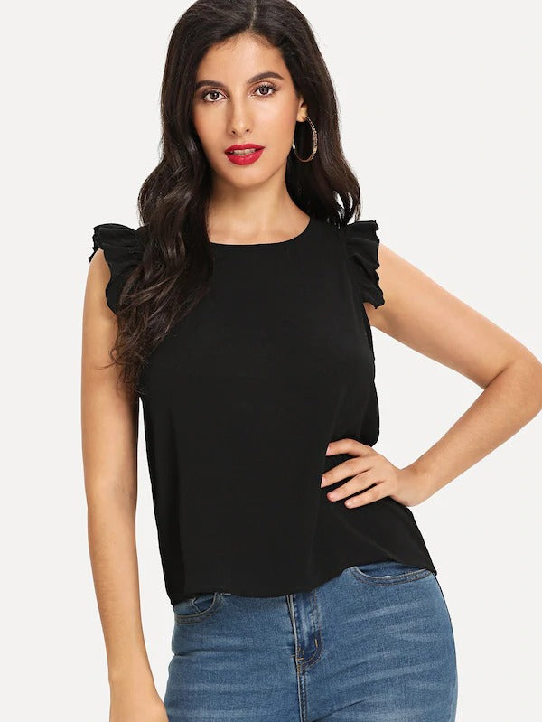 Frilled Armhole Button Keyhole Shell Top