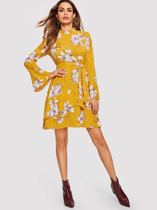 Frilled Neck Self Belt Ruffle Floral Dress