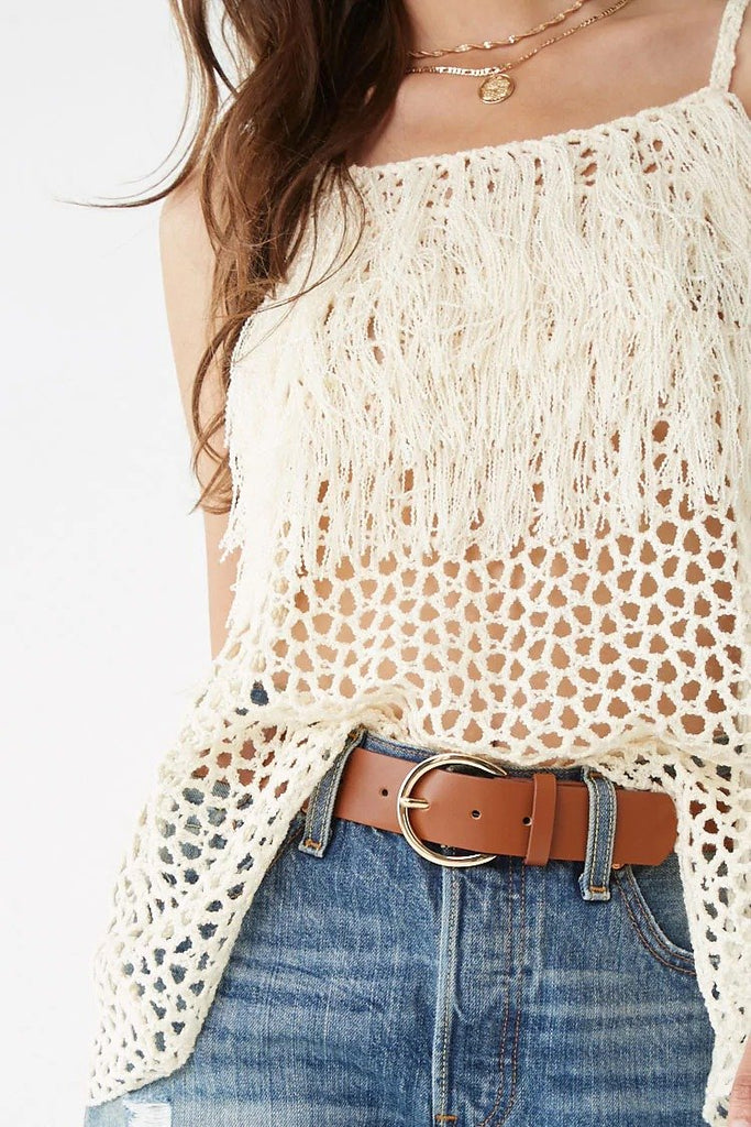 Fringe Open-Knit Cami