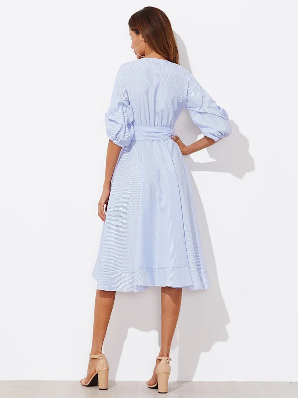 Gathered Sleeve Surplice Wrap Pinstripe Ruffle Dress