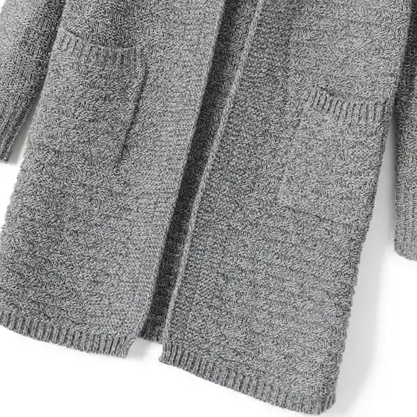 Grey Stand Collar Long Sleeve Knit Cardigan