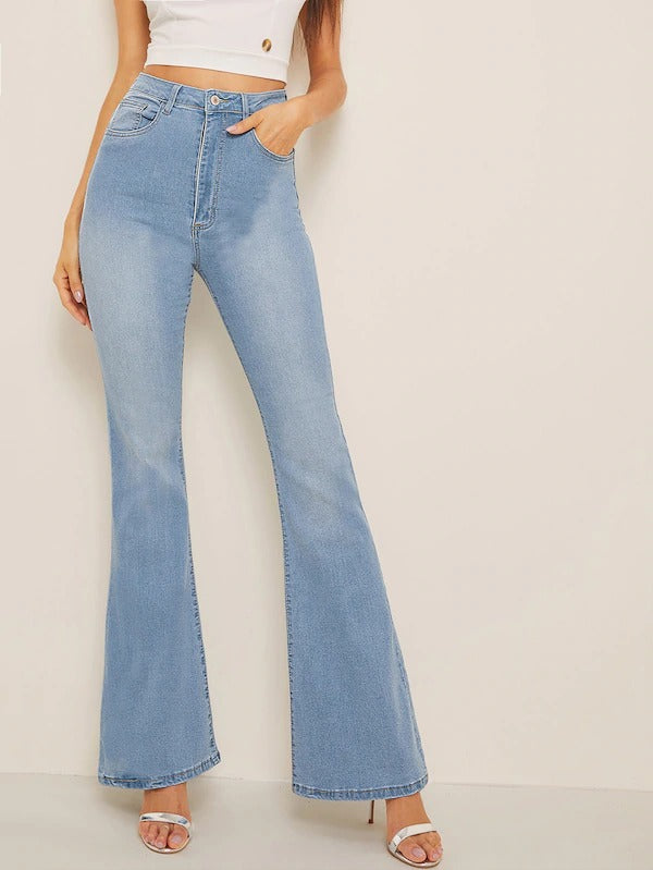 High Waist Flare Leg Denim Jeans
