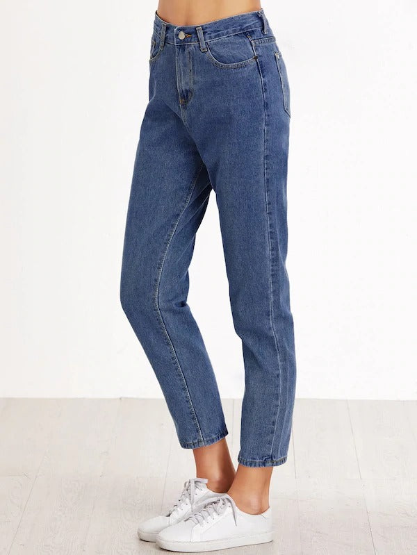 High Waist Pocket Cropped Jeans