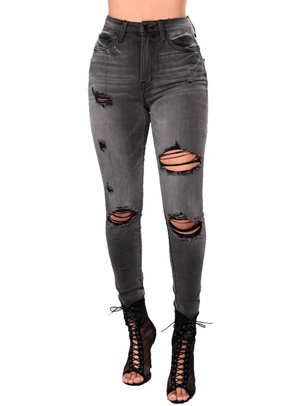 High Waist Shredded Jeans