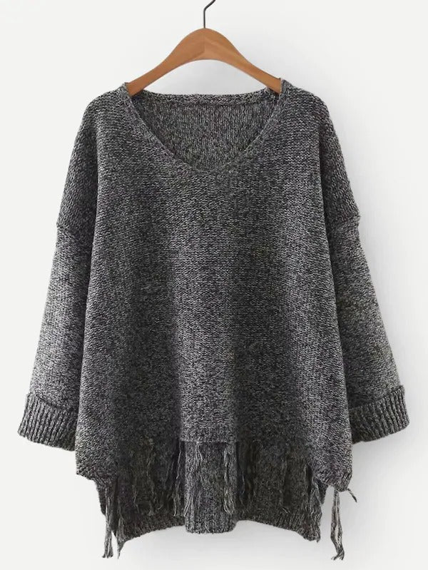 High Low Fringe Hem Marled Knit Jumper