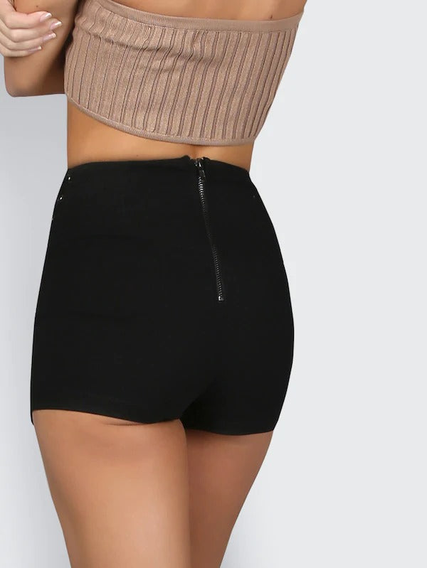 High Waist Lace Up Grommet Shorts