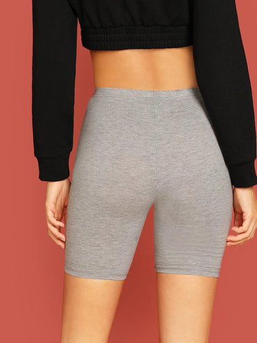 High Waist Solid Cycling Shorts Grey