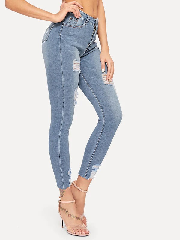 Hot Selling Ripped Button Fly Skinny Jeans