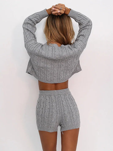 Joyfunear Drop Shoulder Cable Knit Sweater & Shorts Set