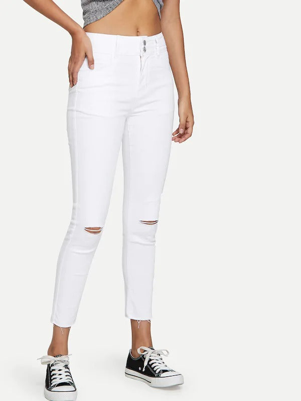 Knee Ripped White Wash Jeans
