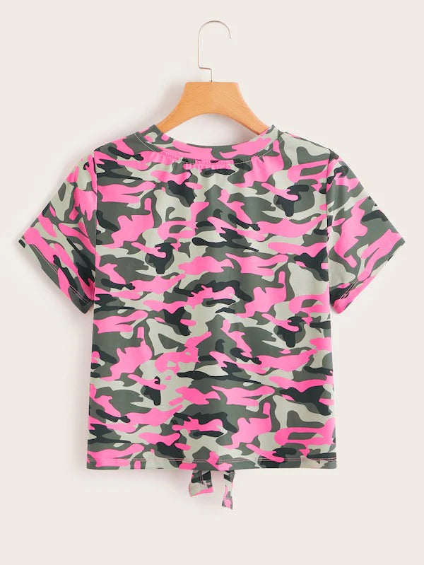 Knot Front Camo Tee