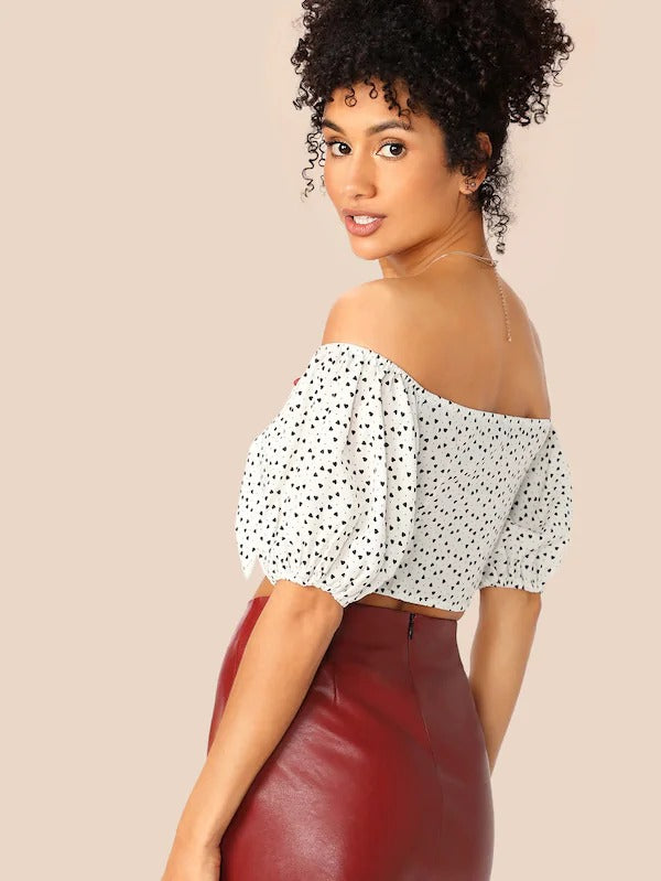 Knot Front Heart Print Bardot Crop Top