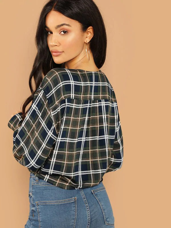 Knot Front Plaid Crop Shirt
