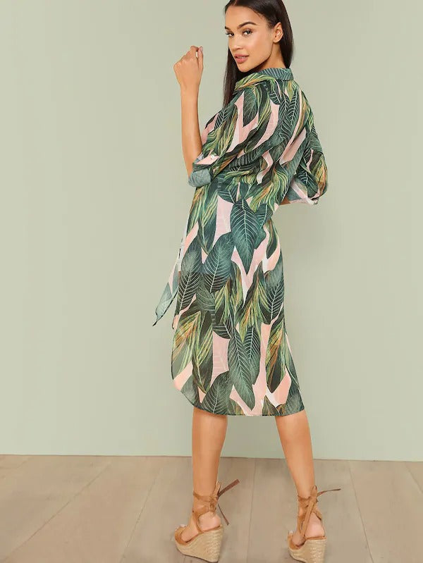 Knot Front Tropical Print Longline Shirt