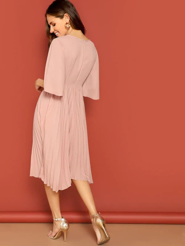 Knot Front Zip Bell Sleeve Solid Dress