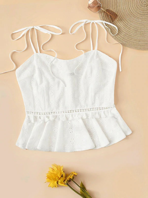 Knot Shoulder Tassel Detail Schiffy Peplum Cami Top