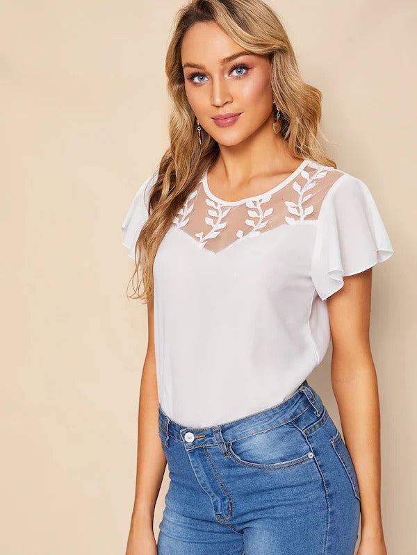 Lace Panel Butterfly Sleeve Blouse