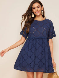 Lace Trim Eyelet Embroidered Smock Dress