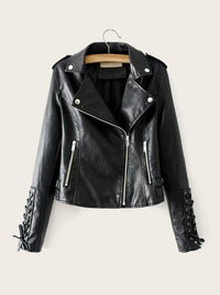 Lace Up Sleeve Zip Up PU Biker Jacket