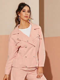 Lapel Neck Double Breasted Solid Jacket
