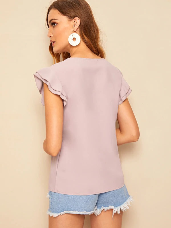 Layered Ruffle Armhole Solid Top