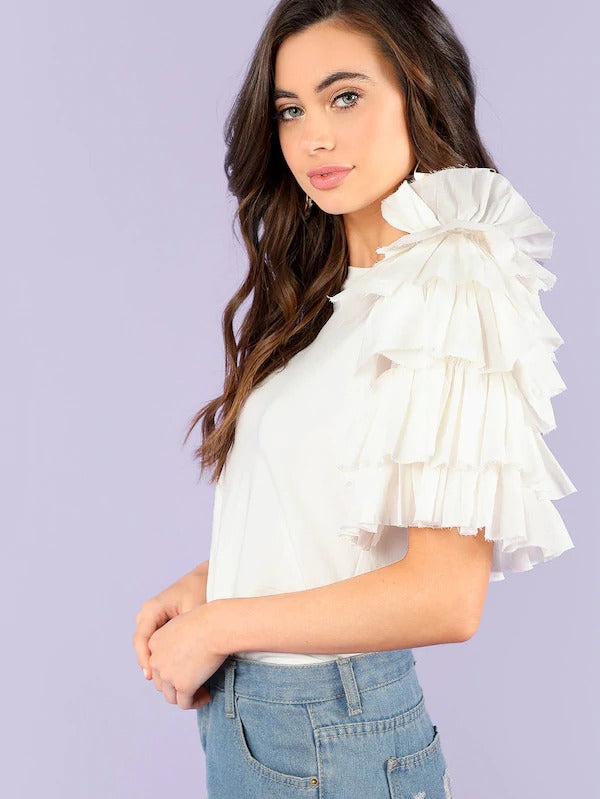 Layered Ruffle Trim Fitted Tee