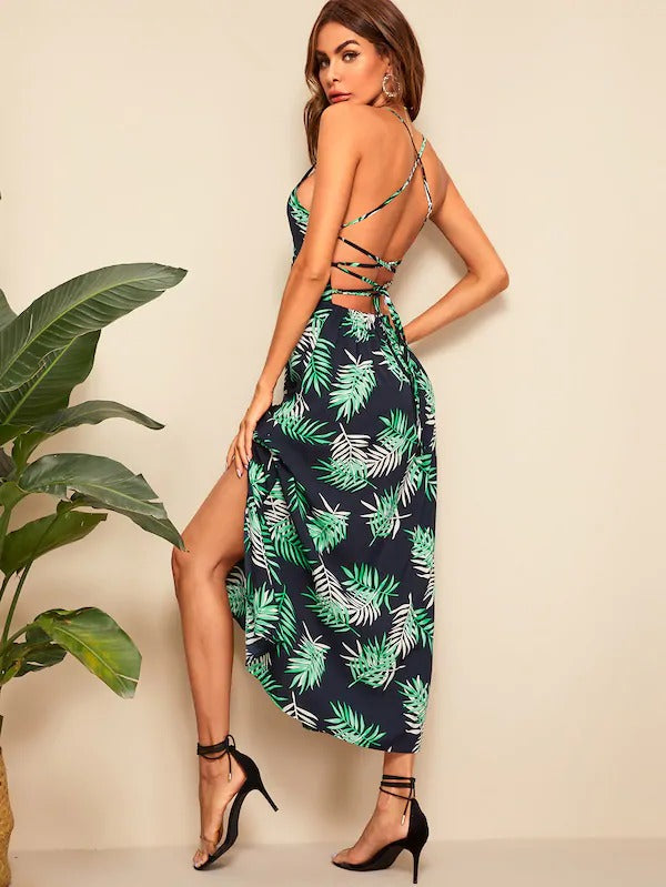 Leaf Print Lace-Up Slit Hem Cami Dress