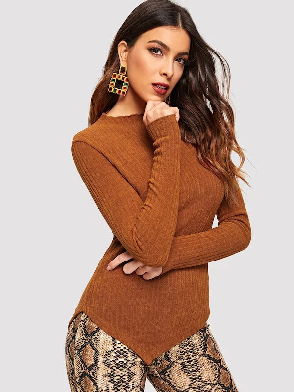 Lettuce Trim Asymmetrical Rib Sweater