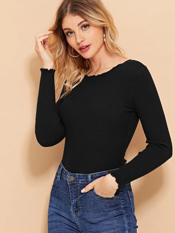 Lettuce Trim Solid Sweater